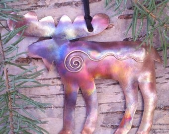 Handcrafted Copper Moose Ornament