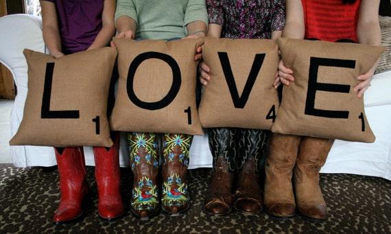LOVE Scrabble Pillows