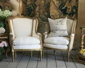 gilt ROUGH LUXE burlap bergere chairs