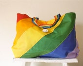 rainbow tote bag . 70s new old stock