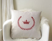 stenciled crown & laurel wreath pillow down filled