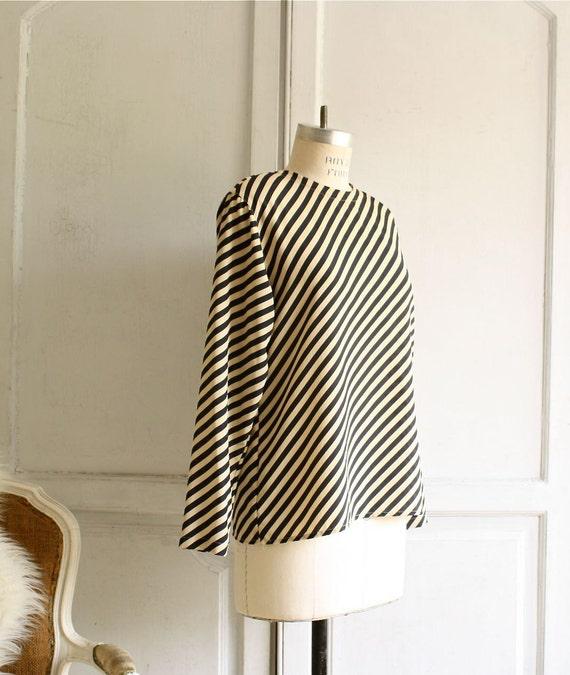 on hold... sale . navy striped boxy blouse . minimalist top