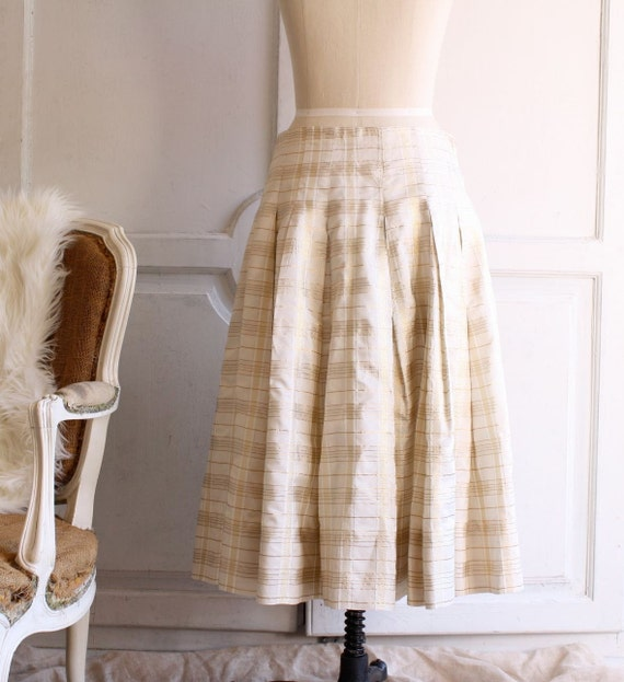 s a l e . plaid maxi skirt . gold metallic taffeta Shimmer