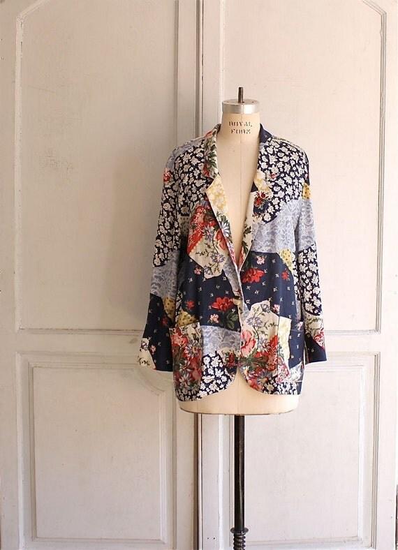 floral maxi print blazer . 80s linen patchwork jacket