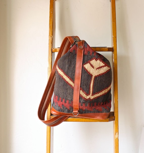 woven kilim backpack . native style carpet bag