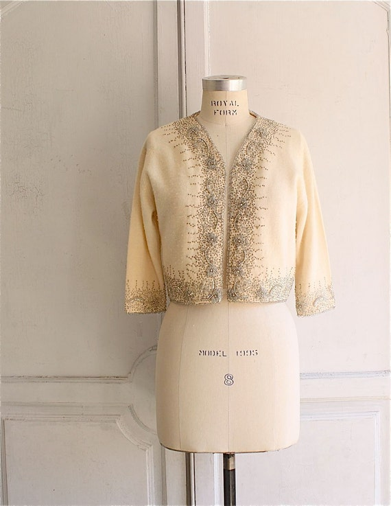 50s 60s beaded cardigan sweater