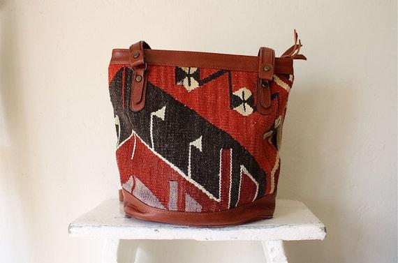 Kilim carpet bag . large woven handbag