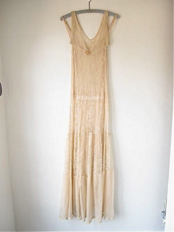 Vintage 20s 30s flapper wedding dress net lace and chiffon for Vintage flapper wedding dress