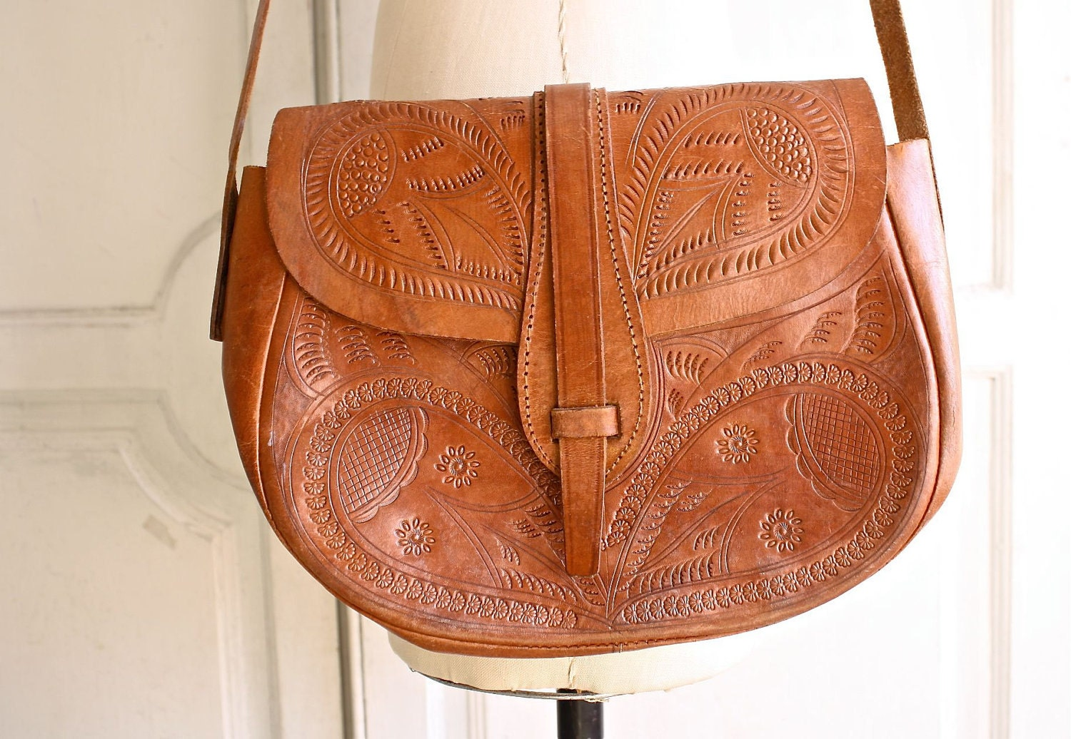 Tooled Leather Crossbody Bag 94