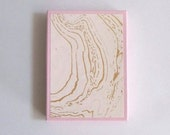Gold/Ivory marbelized paper box