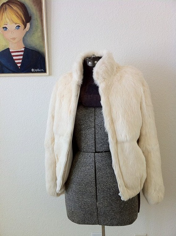 vintage WHITE RABBIT real fur coat