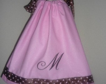 Pink & Brown Polka Dot Embroidered Pillowcase Dress newborn, toddler, infant, baby
