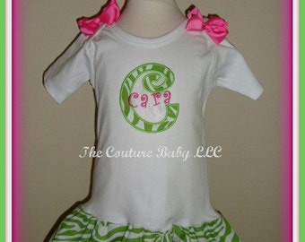 Lime Green Zebra T-shirt Ruffle Dress Applique Bows and Embroidered Name and Initial Infant Toddler Newborn