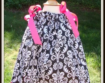 Black & White Damask Pillowcase Dress-Infant-Toddler- Girls