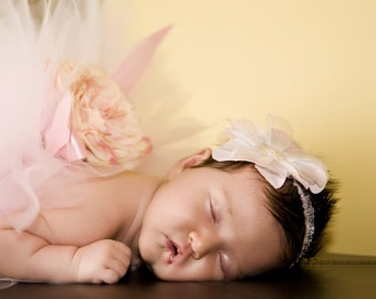 NEWBORN Baby Pink Infant Cabbage Rose and Bow Tutu Photo Prop  Infant Toddler Child