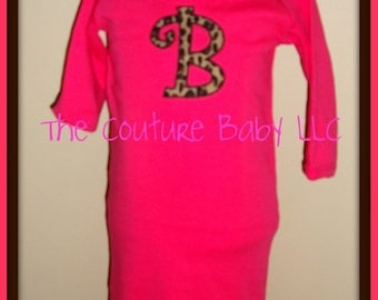 Hot Pink Leopard Ruffle Layette Gown with Boutique Bows Take Me Home Oufit
