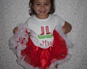 ELF SHOES & Stocking Applique PERSONALIZED Name Shirt or Onesie Infant Toddler Child Christmas Top