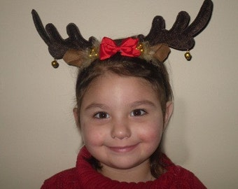CHRISTMAS Reindeer Marabou Feather and Bow Antlers Headband Infant Toddler Child  READY 2 SHIP