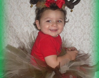 Rudolph the Red Nose Reindeer Christmas Tutu and Antlers READY TO SHIP
