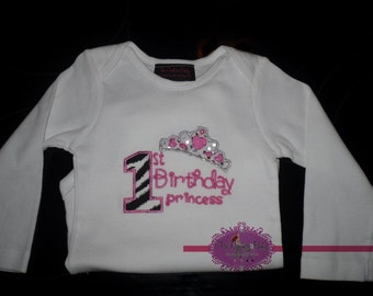 First Birthday Princess Zebra Sparkle Crown Personalized Girl Onesie Shirt or Tank Top 1st Birthday
