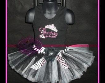 FIRST BIRTHDAY PRINCESS sparkly zebra Princess  Tutu Set