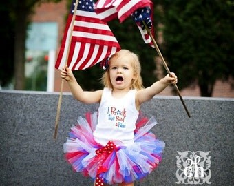 I Rock The Red White and Blue 4th of July Tutu and Tank Top 3 Pc. Set  T-shirt or Onesie Star FREE Headband Korker Bow Patriotic