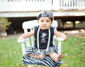 Happy First Birthday Zebra Princess Infant Toddler Tank Top Short or Long  Sleeve Sparkly Dress with Boutique Bows and Matching Headband