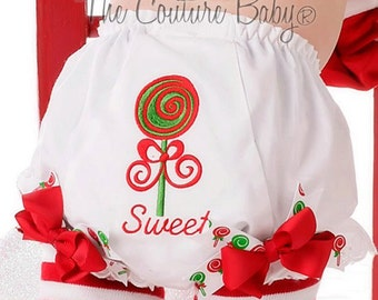 Sweet Treats Christmas Swirl Lollipop Diaper Cover Birthday First Christmas Bloomers