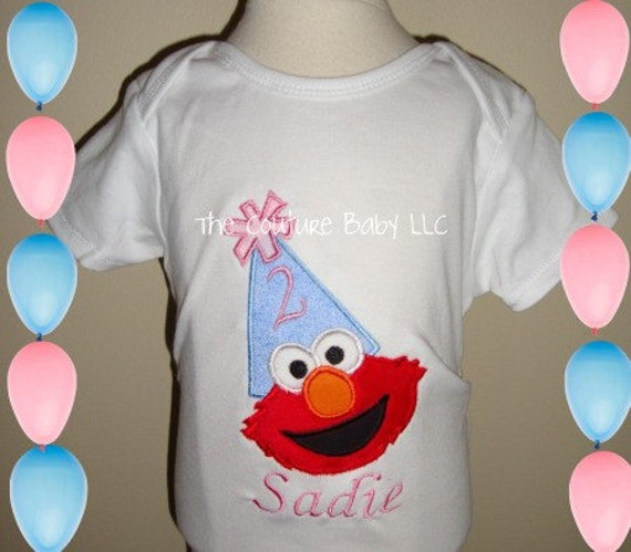 COTTON CANDY Minky ELMO Surprise Birthday Hat- T-Shirt or Applique Onesie