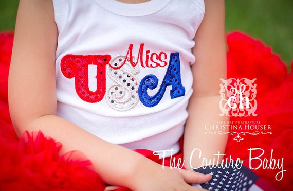 MISS USA Red White and Blue Sparkle Patriotic 4th of July Tank Top T-shirt or Onesie Star