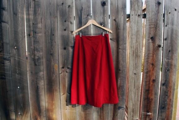 Vintage high waist red wool skirt, size 10, medium/large