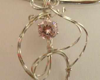 Pink CZ Faceted Wire Wrapped Pendent 5.20 ct