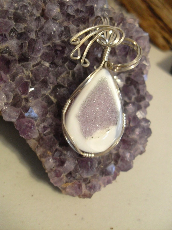 Purple Druzy Quartz Wire Wrapped Pendant