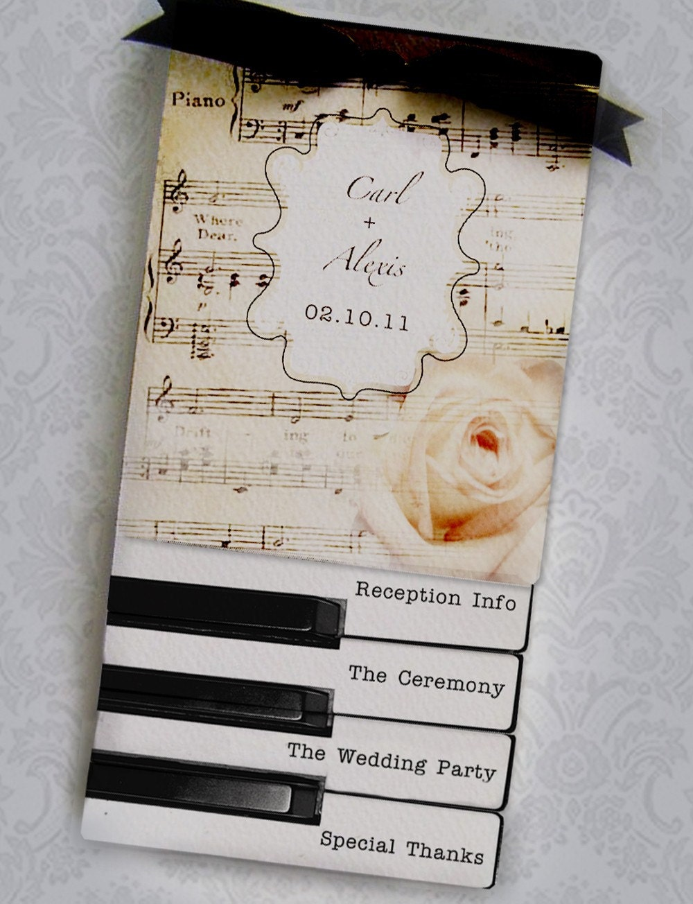 Sheet Music And Piano Keys Layered Wedding Programs