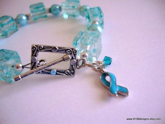 Teal for Tammy Ovarian Cancer toggle bracelet