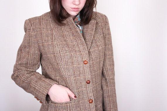 Vintage 80s Brown Tweed Professor Blazer - L