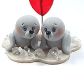 Polymer Clay Memo Holder Miniature Figurines - Seals In Love (ON SALE)