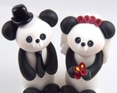 Panda Cake Topper, Wedding Cake Topper, Bride and Groom, Personalized Figurines, Handmade Wedding Decoration