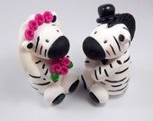 Zebra Wedding, Wedding Cake Topper, Personalized Figurine