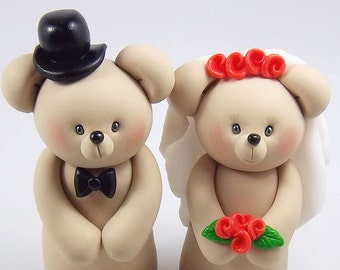 Bear Cake Topper, Bear Couple, Wedding Cake Topper, Personalized Figurines