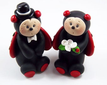 Bride and Groom Ladybugs, Lovebugs, Custom Wedding Cake Topper, Handmade Personalized Clay Figurines, Cute Wedding Decoration, Love Bug