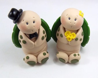 Wedding Cake Topper, Turtle, Clay Figurines