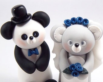 Wedding Cake Topper, Panda, Koala Figurine, Custom Cake Topper, Personalized, Handmade