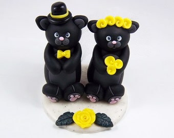 Cats Cake Topper, Custom Cake Topper, Personalized Wedding Cake Topper, Black Cat, Halloween Wedding