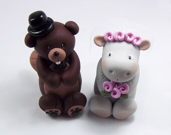 Beaver Cake Topper, Hippo Figurine, Wedding Cake Topper, Bride and Groom
