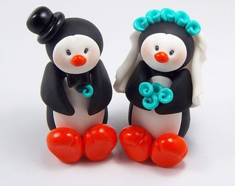 Penguin Cake Topper, Wedding Cake Topper, Penguin Couple, Mr and Mrs Penguin