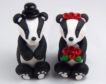 Badger Cake Topper, Wedding Cake Topper, Personalized Figurines