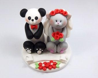 Wedding Cake Topper, Panda Bear, Cat Figurine, Bride and Groom