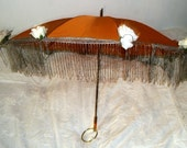 Handmade Rust Victorian Parasol with Grey Fringe Trim and Pale Silk Roses