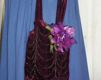 1920s Style Burgundy Velvet Victorian Opera Bag Reticule Purse with Chains Org Design